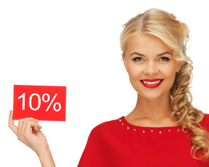 lovely woman in red dress with discount card