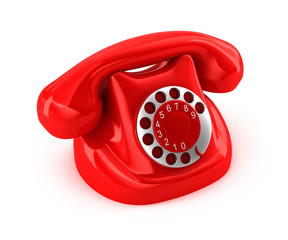 Old-fashioned phone over white background