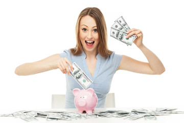 Woman with piggy bank and dollar bills