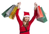 Young shopping woman with Christmas hat