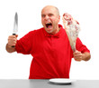 Angry hungry man (boss) with knife and raw bloody meat.