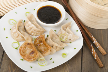 Yaki-Gyoza - Japanese pan-fried dumplings with dipping sauce