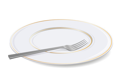 Vector white plate and fork.