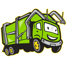 Garbage Rubbish Truck Cartoon
