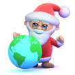 Santa plans his route on a globe