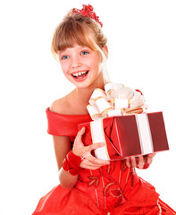 Girl child  in red dress with gift box.