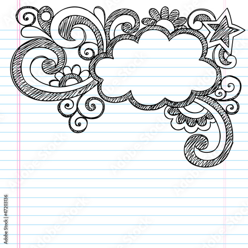 Cloud Frame Border Sketchy Back to School Doodles
