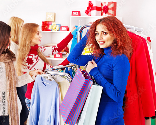 Shopping women at Christmas sales.