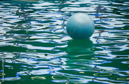 A floating  ball in delphinarium