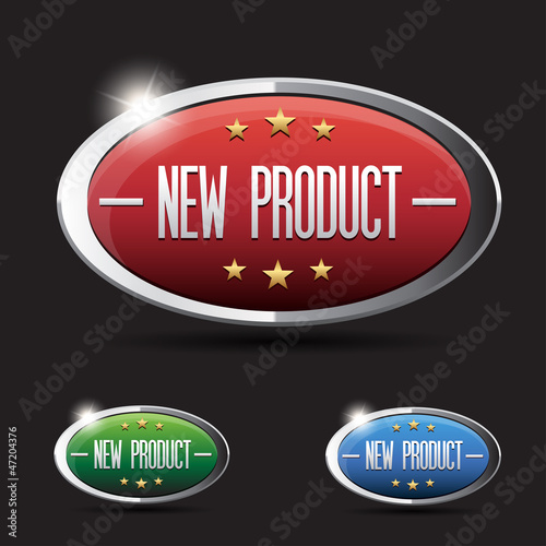New product button set - red, green,blue