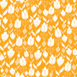 Vector golden Dutch tulip flowers elegant seamless pattern