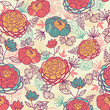 Vector peony flowers and leaves elegant seamless pattern