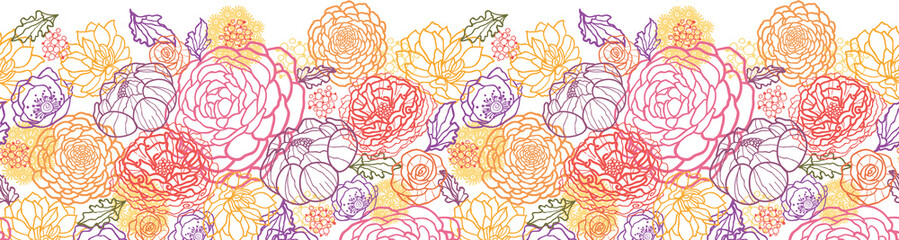 Vector floral line art horizontal seamless pattern ornament with