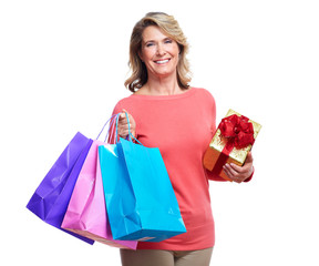 Senior woman with shopping bags.
