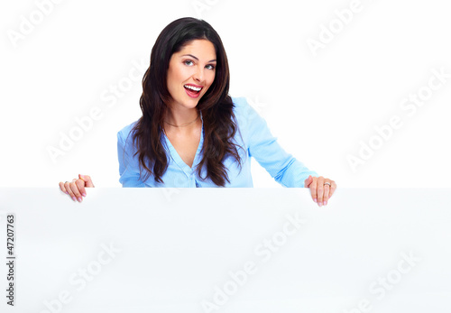 Happy woman with banner.