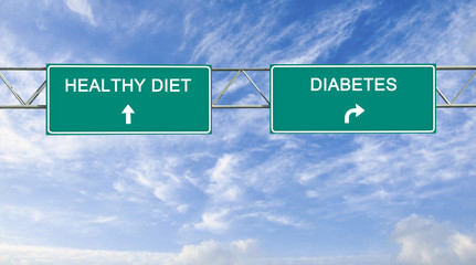 Road sign to healthy diet and high cholesterol