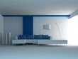 Design Couch in a white & blue room |  Interior Architecture