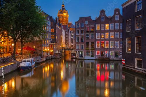 Poster Amsterdam at night