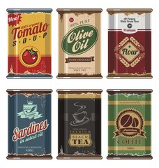 Retro food cans vector collection