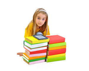 Girl, books and e-book isolated on white background
