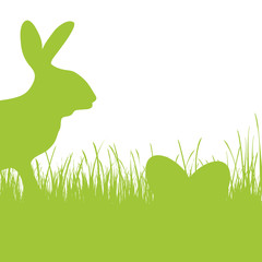 Happy Easter - green silhouette