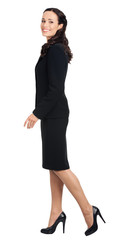 Full body of going businesswoman, isolated