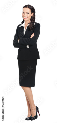 Full body of happy businesswoman, on white