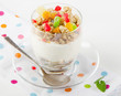 Healthy breakfast - yogurt with muesli