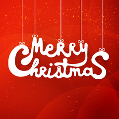 Merry christmas hand lettering applique background