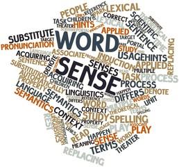 Word cloud for Word sense