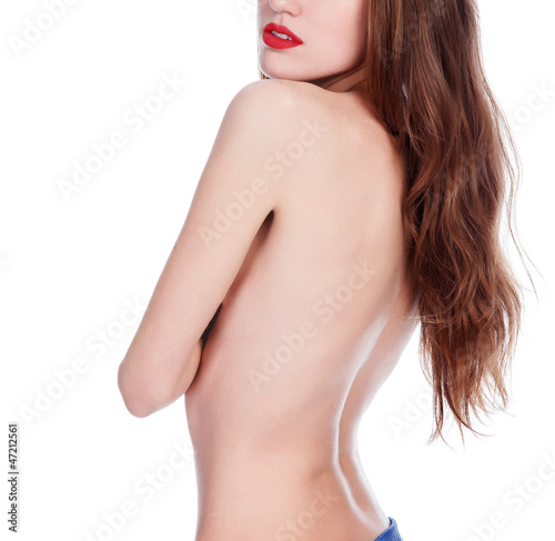 beautiful woman with long hair, white background