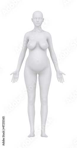 Pregnant woman in anatomical position with clipping path