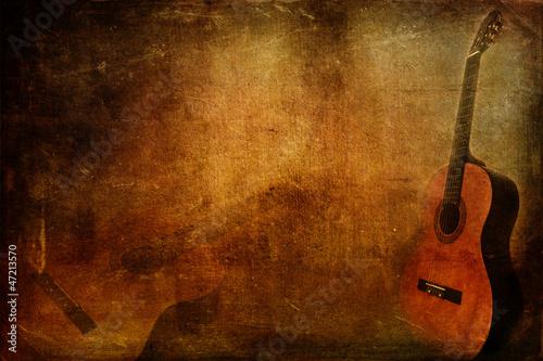 Leinwandbild Motiv Grunge background guitar