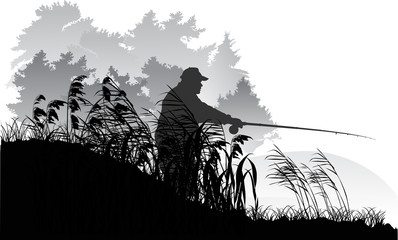 fisherman silhouette near grey forest lake