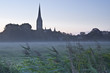 Salisbury cathedral on a misty morning.