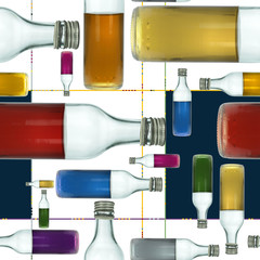 Little Colorful Bottles Abstract Seamless Pattern