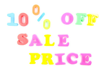 10% off sale price written in fridge magnets