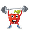 Apple weightlifting vector illustration