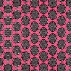 Seamless simple black flowers on pink background