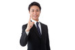 young businessman making a finger