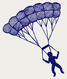 Man jumping with parachute. Doodle style