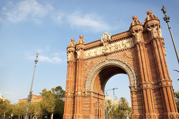 Arc de Triomf on a clear blue sky. Barcelona, Catalonia