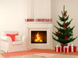 Christmas fireplace with chair and tree