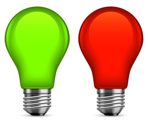 Green and red light bulbs.