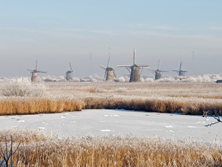 Winter landscape with windmills in Kinderdijk, Netherlands