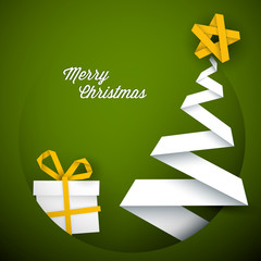 Simple vector green christmas card illustration