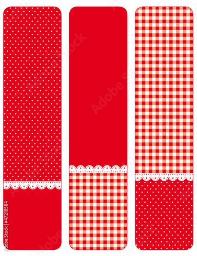 rot-weisse banner, kariert und gepunktet
