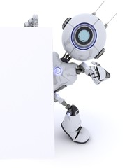 Robot pointing to a blank sign