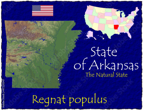 Arkansas USA State map location nickname motto