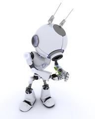 Robot nurturing a plant
